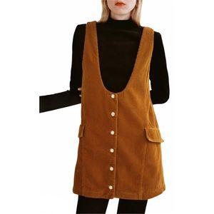 NEW Zara Rust Corduroy Pinafore A-Line Mini Dress